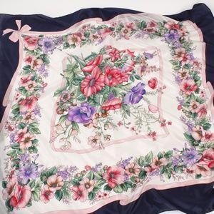 Beautiful Vintage Flowers & Bows Silk Scarf